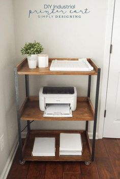 home office decor This Industrial DIY Printer Cart is simple to build yourself and is so pretty and functional Home Office Space, Home Office Design, Home Office Decor, Office Table, Office Nook, Office Room Ideas, Office Designs, Apartment Office, Rustic Office Decor