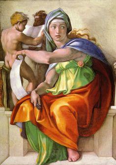La sibylle de Delphes, détail du plafond de la Chapelle Sixtine, Michel-Ange