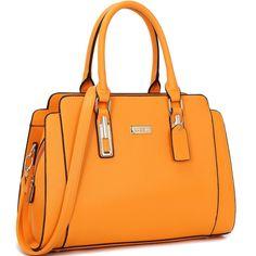 bef492a561 Dasein Women s Faux Leather Medium Satchel Handbag (Orange)