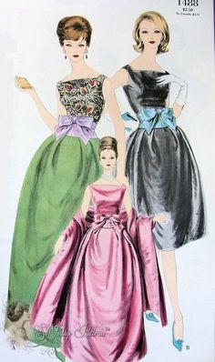 The sleeveless neckline and assorted colors were very popular for the 1960s prom dress.