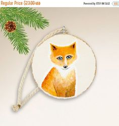 Christmas Gift, Baby Fox Ornament, Christmas Tree Ornament, Hand Painted Ornament, Woodland Animal Art, Handmade Ornament with Gift Box