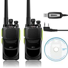 2 Unids Baofeng/GT-1 Pofung 70 cm 400-470 MHz 5 W 16CH UHF FM de Dos vías jamón de Radio de Mano Walkie Talkie Verde + Cable de Programación