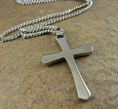 Silver Men's Cross Necklace Stainless Steel Cross by organikx