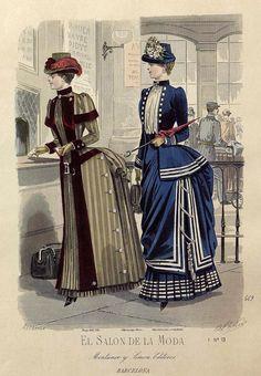 decimonono:  1884. El salón de la moda. Barcelona (vintage fashion plate)