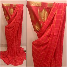The Taj in checkered times...satin georgette saree in coral red with golden yellow checks.