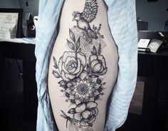 Nature and mandala thigh tattoo