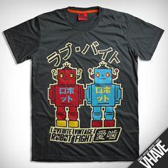 Asian size M V003.VINTAGE ROBOT T-shirt Light Black Unique Hand by VHAVE, $15.95