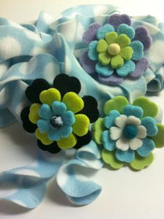 many fleece flower clips to go with the scarves - READY TO SHIP A Rainbow Of Curly Fleece Scarves by marshflowers, $16.00
