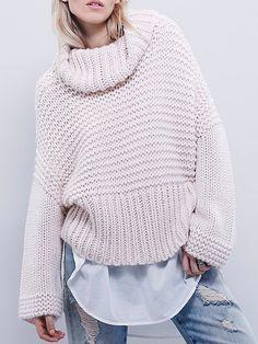Turtleneck Oversized Pink Sweater