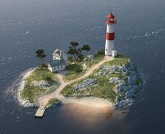 Quick texture-study resulted in a lighthouse on an island. : Cinema4D