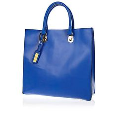Bright blue leather hard tote bag from River Island Clothing. Shop more products from River Island Clothing on Wanelo. Shopper Tote, Satchel, Crossbody Bag, Tote Bag, River Island Outfit, Birthday Ideas For Her, New Outfits, Purses And Bags, Dior