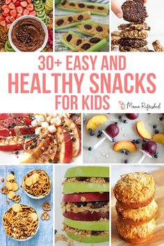 Healthy Snacks for Kids - A List of Over - Mama Refreshed Healthy Filling Snacks, Healthy Eating Recipes, Healthy Snacks For Kids, Easy Snacks, Snack Recipes, Kid Snacks, Healthy Tortilla Chips, Homemade Cheez Its, Vegan