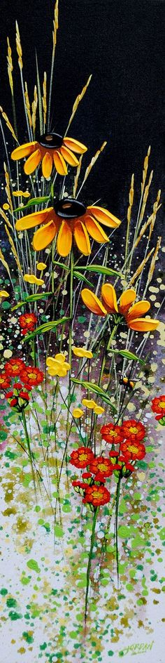 """Susans and Bee"" 24"" x 6"" Acrylic on Canvas by Jordan Hicks. Email info@crescenthill.com for price and more information:"