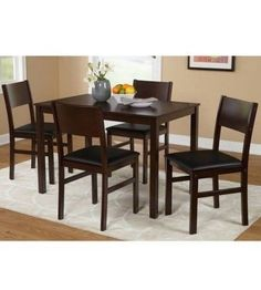Kitchen 5 Pcs Dining Set Rectangle Table 4 Chairs Wood Espresso Black Furniture #Generic #Contemporary