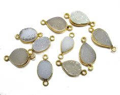 24 kt Gold Plated Druzy Connectors  White colour by finegemstone, $45.00