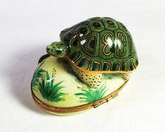 VINTAGE LIMOGES Porcelain TURTLE Trinket by TreasuresByAuntLois