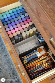 Craft Supply Storage Dresser - Norma D. Craft Paint Storage, Dresser Organization, Art Storage, Craft Organization, Dresser Storage, Ikea Storage, Paper Storage, Storage Ideas, Art Supplies Storage