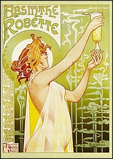 Absinthe Robette, 1902.  Art Nouveau Poster classic postcard.  Nude girl, beer. [Click to read more.]