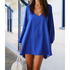 Stylish V-Neck Long Sleeve Hollow Out Chiffon Dress For Women