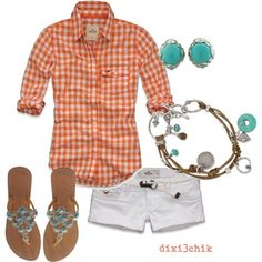 Uh NO on the shorts-white Capri's. But I like the colors. Orange, white & turquoise.