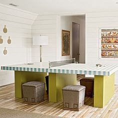 Double Duty: A Ping-Pong table painted with beachy seafoam green cabana stripes is a stylish treat. Remove the net and it transforms into an extra dining table perfect for seating kids.    2012   Rosemary Beach   Game Room   Designer: Urban Grace Interiors