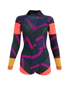 2mm Neoprene wetsuit with multi color zig-zag stripes and bright colorblock panels. Bonded seams with coverstitch detail. Covered back zip with pull and velcro secure closure at high neck. Zip coin pocket on lower back. SPF 50+  Fabric: Shell: 100%