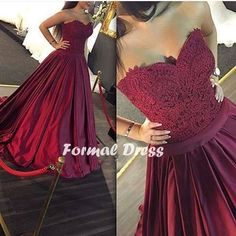 Maroon Long Prom Dress, Sweetheart A-line Lace Prom Dress,Formal Dress,Evening…