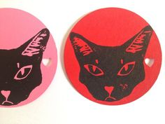CAT GIFT TAGS 25 black cat circle Blank tags gift tags with hole, cat logo, red, pink, favor gift ta Cat Tags, Cat Gifts, Catalog, Super Cute, Kids Rugs, Logos, Cats, Prints, Red