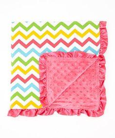 32'' x 32'' Rainbow & Hot Pink Chevron Stroller Blanket #zulily #zulilyfinds