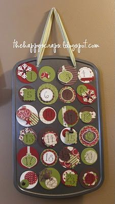 Cute idea for an advent calendar- mini muffin tin, with magnetic covers. You could hide notes for things to do, or tiny toys or candies. The Happy Scraps: Mini Muffin Tin Advent Calendar Cool Advent Calendars, Advent Calendar Activities, Advent Calenders, Diy Advent Calendar, Christmas Activities, Calendar Printable, Calendar Ideas, All Things Christmas, Holiday Fun