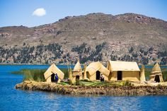 Lake Titicaca, Peru Lake Titicaca stretches from Peru to Bolivia and is the biggest lake in South America. The lake also hosts Uros, a pre-Inca people who have been living on floating islands made of reeds for centuries.