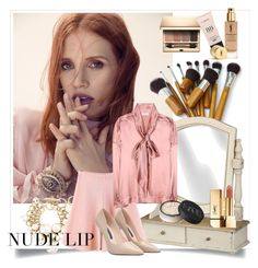 """""""The Perfect Nude Lip"""" by danewhite ❤ liked on Polyvore featuring beauty, DuÅ¡an, Yves Saint Laurent, Clarins, Lanvin, WithChic, Balenciaga and NARS Cosmetics"""