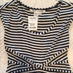 Max Studio dress Max Studio black and white striped dress, round scoop neck, capped sleeves. Very casual, comfortable and cool for the spring / summer season. Brand new and never used Max Studio Dresses Midi