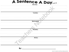 Daily Sentence Writing Practice! from The Learning Teacher's Learning Resources! on TeachersNotebook.com -  (1 page)  - A Simple Worksheet That Requires Students To Write One Sentence A Day In Order To Complete It For The Week. Nothing More & Nothing Less!