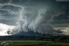 Wall cloud engulfs a mountain in Square Butte, Montana last Friday 10th June 2016