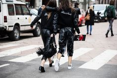 Sara Nicole Rossetto + Giorgia Rossetto before the Sportmax Fall/Winter 2015-2016 fashion show in Milan, Italy