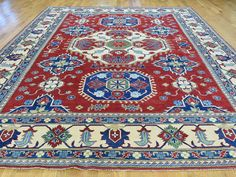 Hand-Knotted Red Kazak Pure Wool Tribal Design Oriental Rug- Product:9-9-x12-7-Hand-Knotted-Red-Kazak-Pure-Wool-Tribal-Design-Oriental-Rug-Sh31411