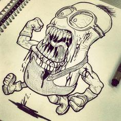 Minions Graffiti Drawing, Pencil Art Drawings, Cartoon Drawings, Cartoon Art, Minion Drawing, Goku Drawing, Zombie Tattoos, Scary Tattoos, Minion Tattoo