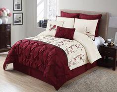 HLC.ME Jennifer 8 PC Embroidered Comforter Sets (Queen, Burgundy) HLC.ME http://www.amazon.com/dp/B00T8GU69C/ref=cm_sw_r_pi_dp_76Dcwb1Q8M2PB