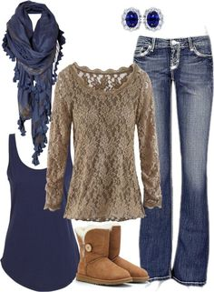 blue and tan and lace