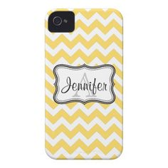 White  Yellow Chevron Monogram iPhone 4/4s iPhone 4 Case-Mate Case