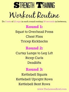 Strength Training Workout Routine - The Lemon Bowl