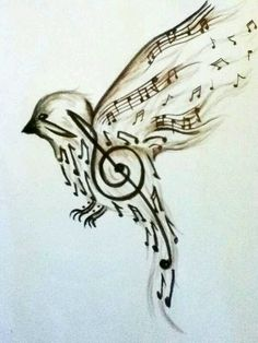 songbird with music notes