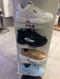 Different color fils shoes👟the top onessssLove the golden sneaker❣💋 Sock Shoes, Shoes Heels, Sneakers Fashion, Fashion Shoes, Fila Outfit, Fila Disruptors, Aesthetic Shoes, Hype Shoes, Dream Shoes