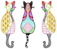 3 chats Zentangle 18 x 13