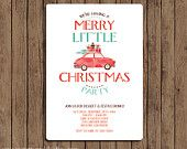 Christmas Party Invitation - PRINTABLE - Vintage Retro - Holiday - Choose Digital or Printed with Envelopes - Red Turquoise
