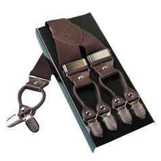 Leather alloy 6 clips Width Adjustable male vintage casual suspenders