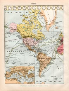 1897 Antique World Maps Population Map Religion Map by Craftissimo