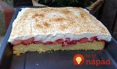 Perfektný koláčik z lahodného a šťavnatého cesta, jahôd a poriadnej porcie šľahačkového krému.