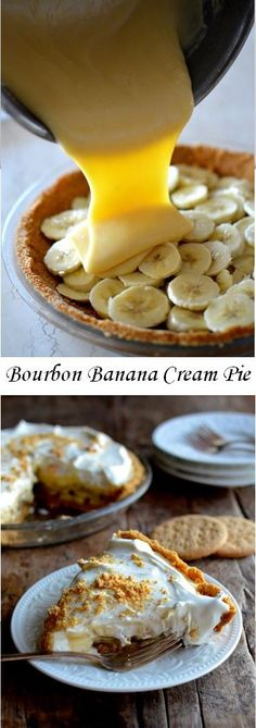 Bourbon Banana Cream Pie 3 27 19 very good next time add splash more bourbon didn t taste it at all used cool whip instead of homemade whip cream weepy on day so eat quickly 4 out of 5 Just Desserts, Delicious Desserts, Yummy Food, Pie Dessert, Dessert Recipes, Doce Banana, Bourbon Recipes, Bourbon Pie Recipe, Dinner Party Desserts